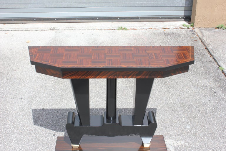Classic French Art Deco Exotic Macassar Ebony Console Tables, circa 1940s For Sale 8