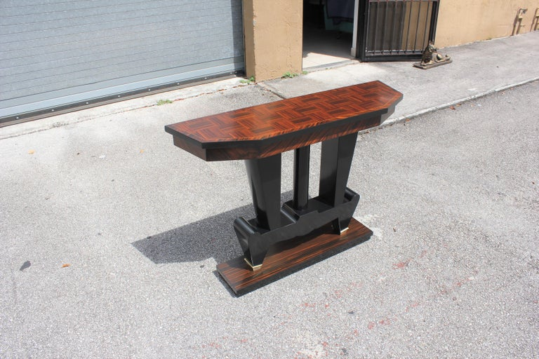 Classic French Art Deco Exotic Macassar Ebony Console Tables, circa 1940s For Sale 9