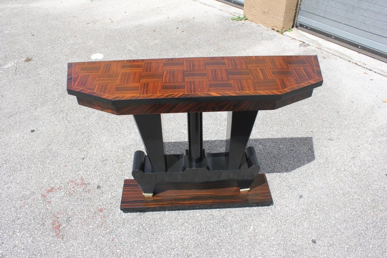 Classic French Art Deco Exotic Macassar Ebony Console Tables, circa 1940s For Sale 15