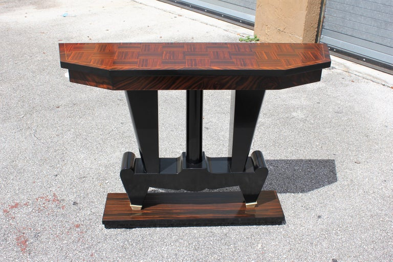 Classic French Art Deco Exotic Macassar Ebony Console Tables, circa 1940s For Sale 16