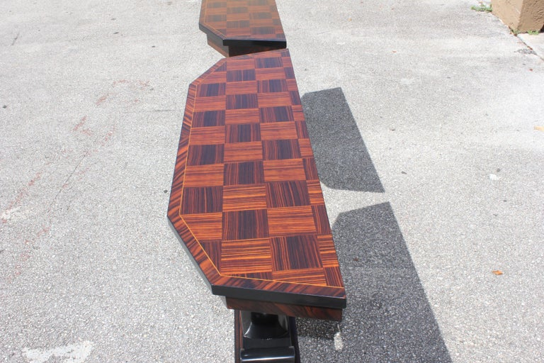 Bronze Spectacular Pair of French Art Deco Macassar Ebony Console Tables, circa 1940s For Sale