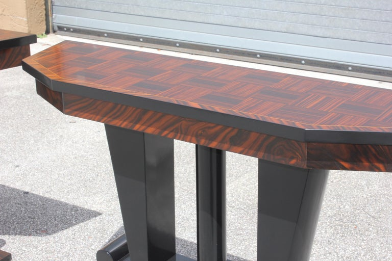 Spectacular Pair of French Art Deco Macassar Ebony Console Tables, circa 1940s For Sale 9