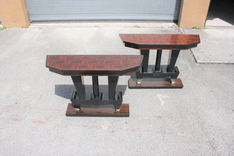 Spectacular Pair of French Art Deco Macassar Ebony Console Tables, circa 1940s For Sale 13
