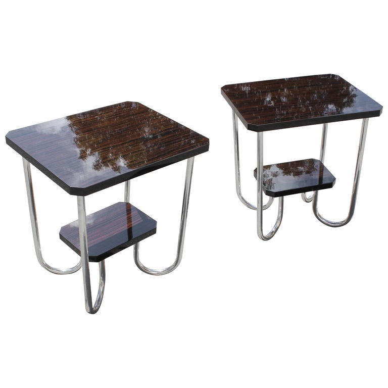 Pair of French Art Deco Macassar Ebony End Tables or Side Table, circa 1940s