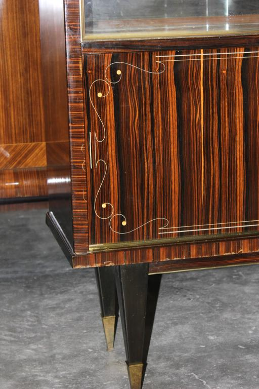 French Art Deco Exotic Macassar Ebony Dry Bar Circa 1940s