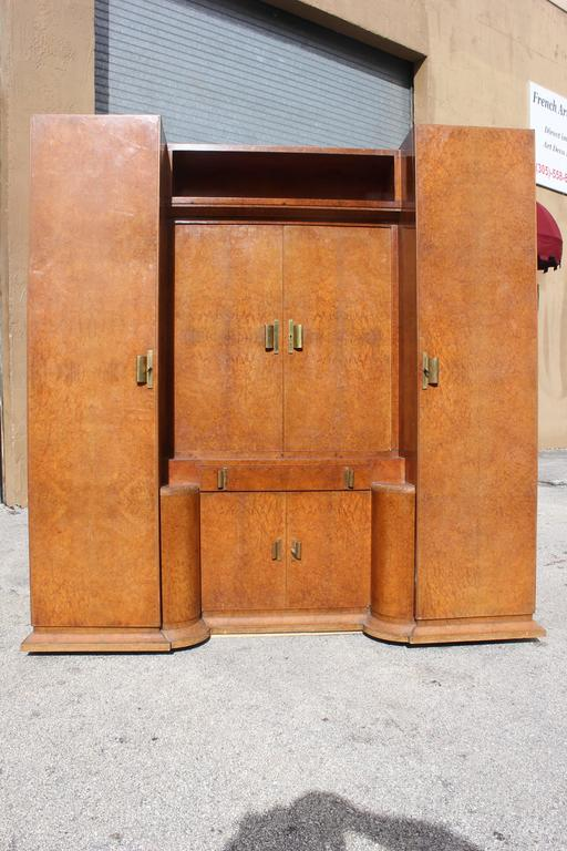 massive french art deco designer burl amboyna armoire with. Black Bedroom Furniture Sets. Home Design Ideas