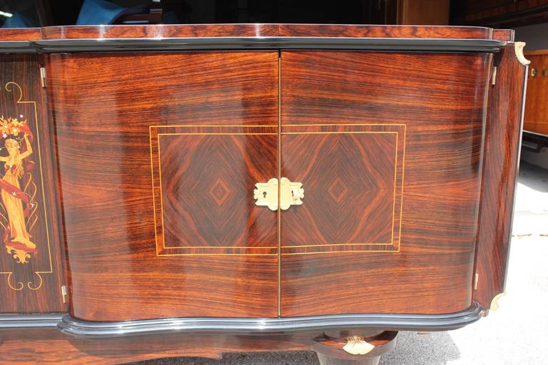 French Art Deco Sideboard Palisander Rio with M-O-P Detail, style Jules Leleu. 7