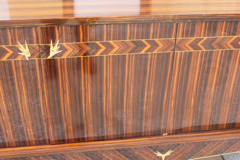 Opulent Designer French Art Deco Exotic Macassar Ebony Sideboard, circa 1940s For Sale 1