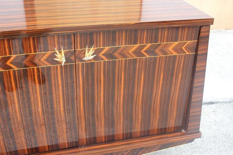 Opulent Designer French Art Deco Exotic Macassar Ebony Sideboard, circa 1940s For Sale 3