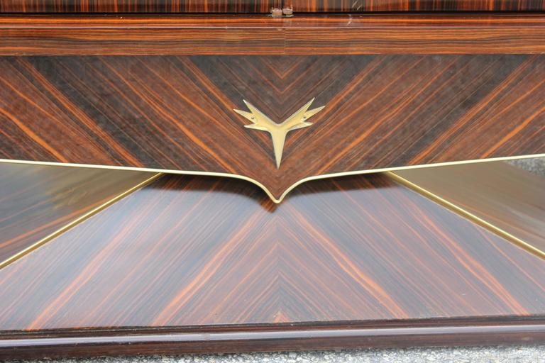Opulent Designer French Art Deco Exotic Macassar Ebony Sideboard, circa 1940s For Sale 5