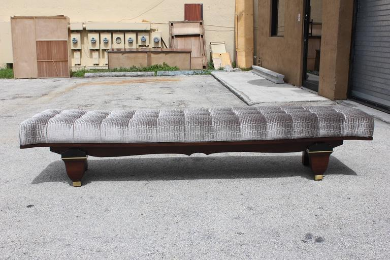 Classic French Art Deco Exotic Macassar Ebony Sitting Bench, Style Leleu, 1940s In Excellent Condition For Sale In Hialeah, FL