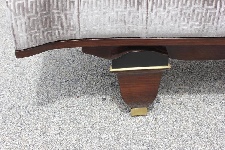 Classic French Art Deco Exotic Macassar Ebony Sitting Bench, Style Leleu, 1940s For Sale 2