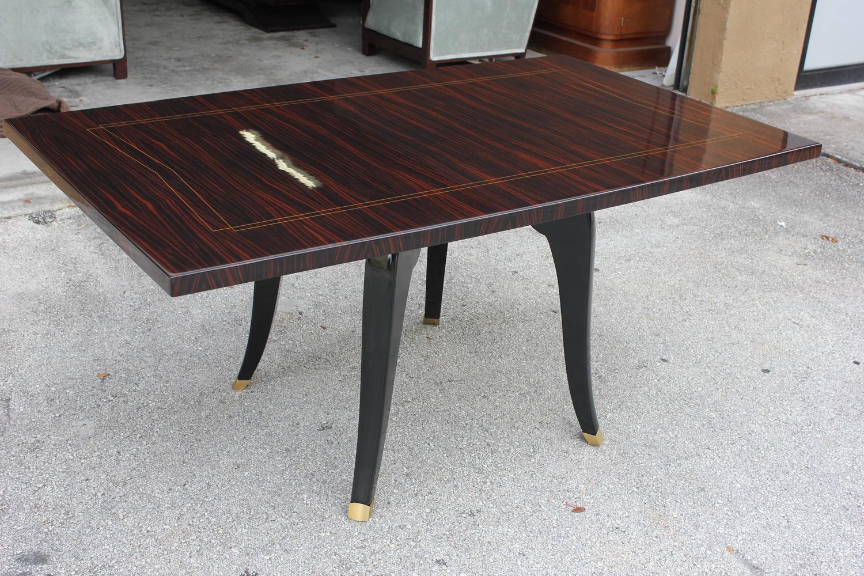French art deco exotic macassar sabre leg center table for Center table legs