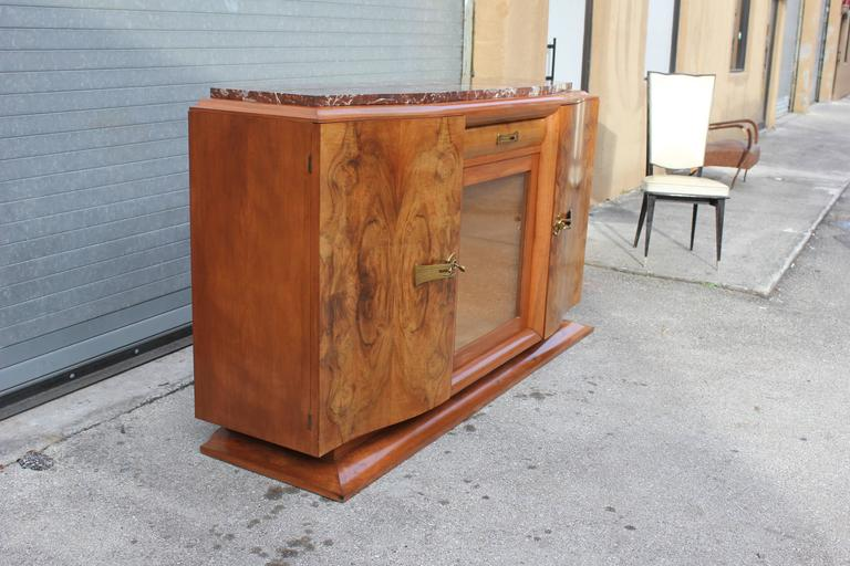 French Art Deco Sideboard or Buffet Exotic Walnut with Marble Top, circa 1930s 3