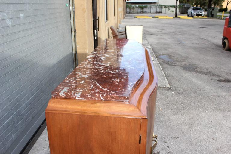 French Art Deco Sideboard or Buffet Exotic Walnut with Marble Top, circa 1930s 4