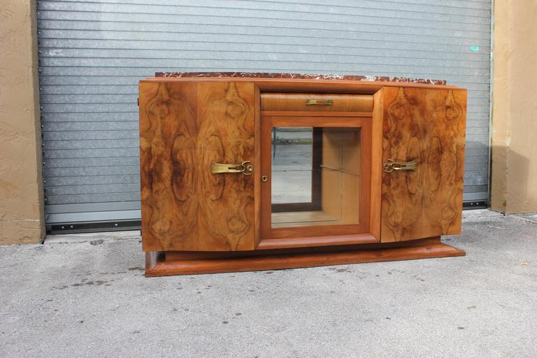 French Art Deco Sideboard or Buffet Exotic Walnut with Marble Top, circa 1930s 5