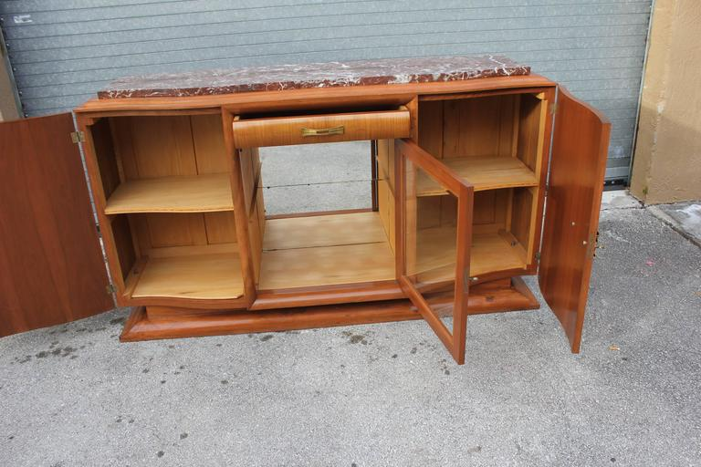 French Art Deco Sideboard or Buffet Exotic Walnut with Marble Top, circa 1930s 6
