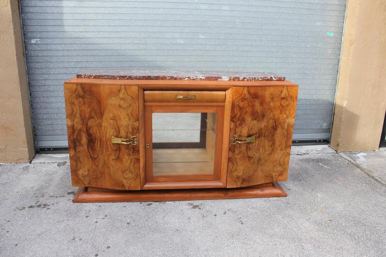 French Art Deco Sideboard or Buffet Exotic Walnut with Marble Top, circa 1930s 9