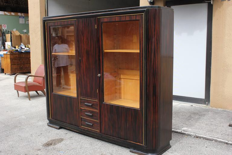 Stunning French Art Deco Exotic Macassar Ebony Bookcase
