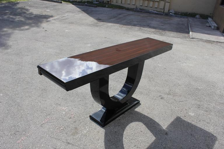 Mid-20th Century Spectacular French Art Deco Exotic Macassar Ebony Console Tables, circa 1940s For Sale