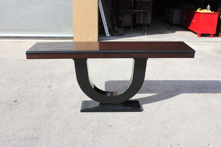 Spectacular French Art Deco Exotic Macassar Ebony Console Tables, circa 1940s For Sale 4