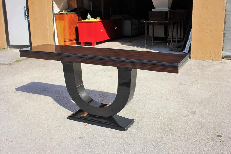 Spectacular French Art Deco Exotic Macassar Ebony Console Tables, circa 1940s 9