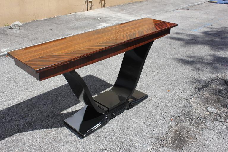 Long French Art Deco Exotic Macassar Ebony Console Tables, circa 1940s For Sale 5