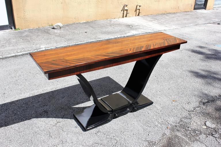 Long French Art Deco Exotic Macassar Ebony Console Tables, circa 1940s For Sale 6
