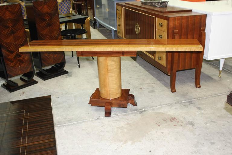 Spectacular long pair of French Art Deco Palisander with sycamore console tables, circa 1940s. Beautiful palisander of Rio with sycamore, high gloss lacquer finish in both side, French estate items. Paris.