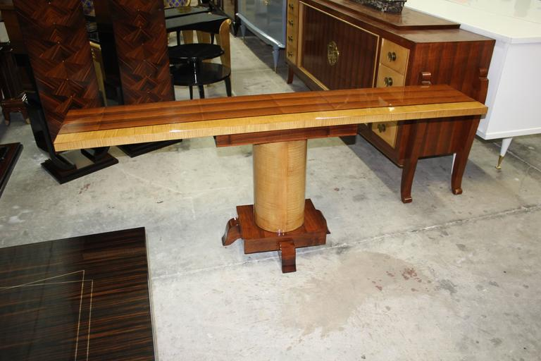 Mid-20th Century Long Pair of French Art Deco Palisander with Sycamore Console Tables, circa 1940 For Sale