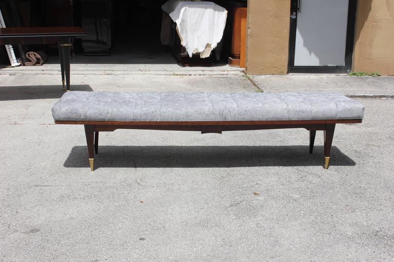 French Art Deco Grey Velvet Exotic Macassar Ebony Sitting Bench, circa 1940 In Excellent Condition For Sale In Hialeah, FL