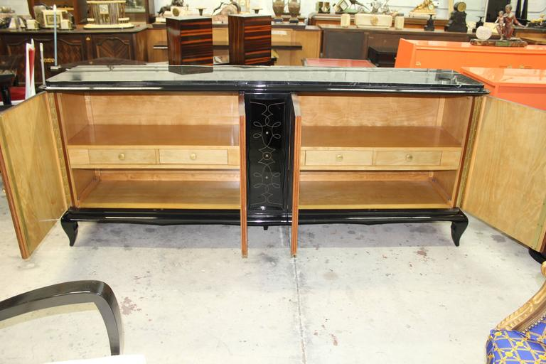 Brass French Art Deco Mother-of-Pearl style of Jules Leleu Sideboard or Buffet For Sale