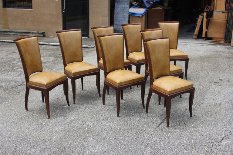 Set of Eight French Art Deco Jules Leleu Style Mahogany Dining Chairs 2