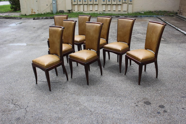 Set of Eight French Art Deco Jules Leleu Style Mahogany Dining Chairs 4