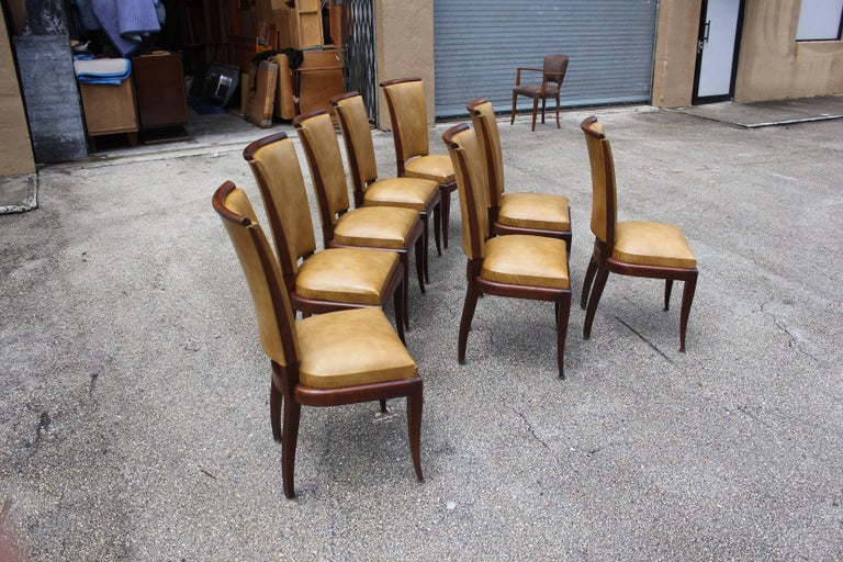Set of Eight French Art Deco Jules Leleu Style Mahogany Dining Chairs 5