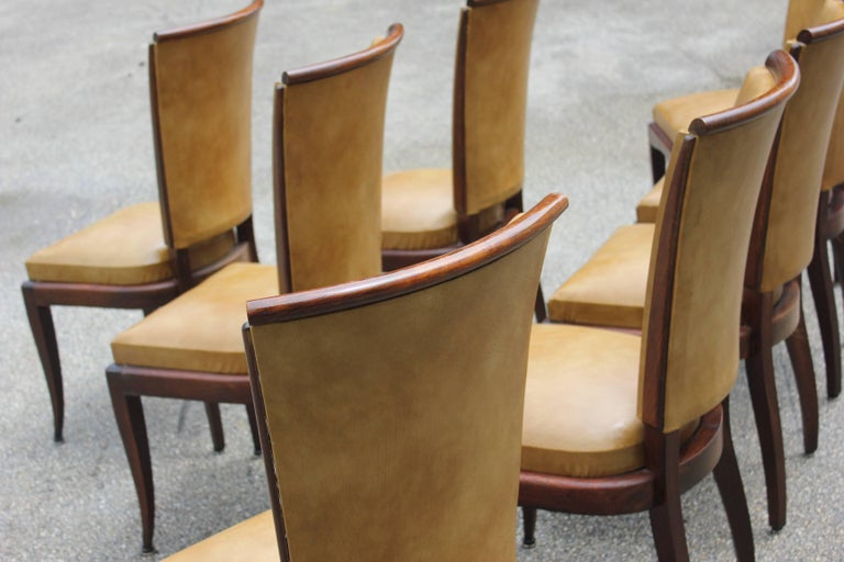 Set of Eight French Art Deco Jules Leleu Style Mahogany Dining Chairs 6