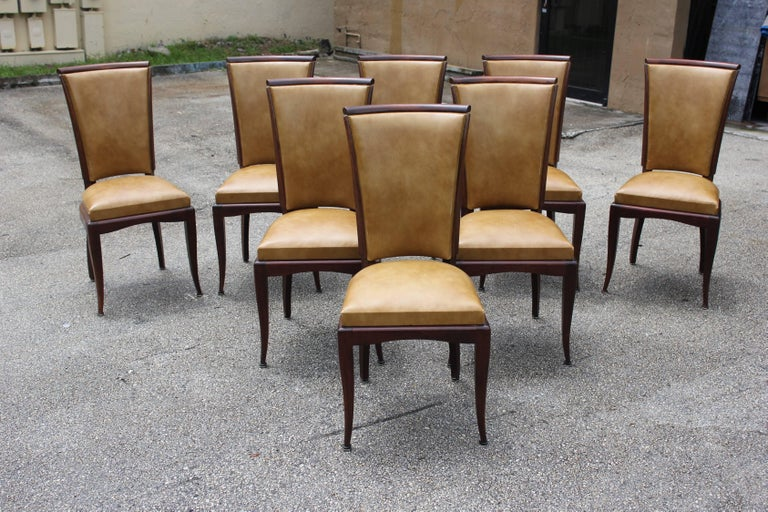Set of Eight French Art Deco Jules Leleu Style Mahogany Dining Chairs 7