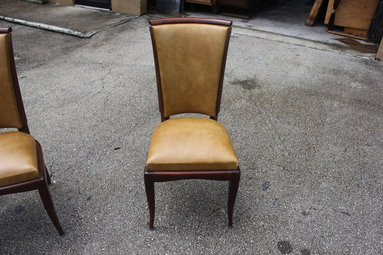Set of Eight French Art Deco Jules Leleu Style Mahogany Dining Chairs 8