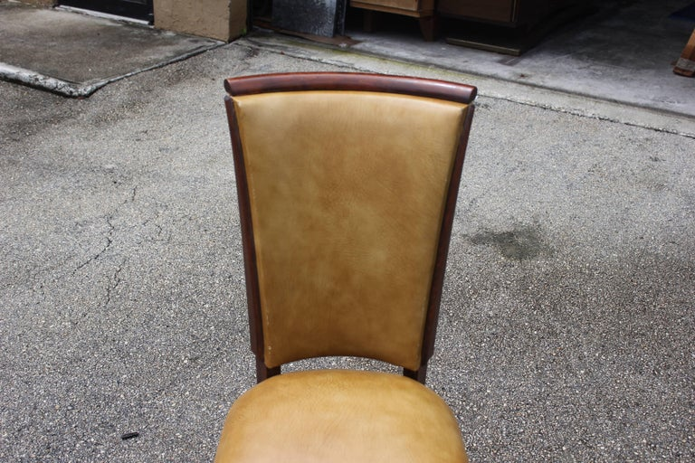 Set of Eight French Art Deco Jules Leleu Style Mahogany Dining Chairs 9