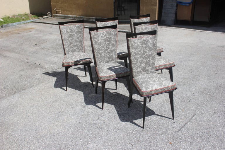 Set of Six French Art Deco Solid Mahogany Dining Chairs, circa 1940s 2