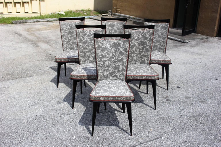 Set of Six French Art Deco Solid Mahogany Dining Chairs, circa 1940s 3