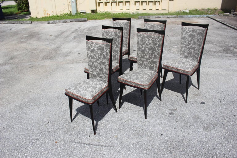 Set of Six French Art Deco Solid Mahogany Dining Chairs, circa 1940s 4