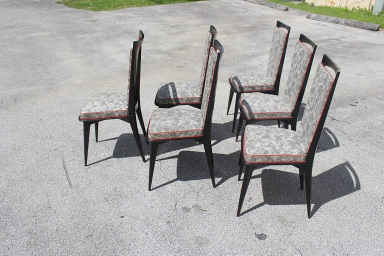 Set of Six French Art Deco Solid Mahogany Dining Chairs, circa 1940s 5