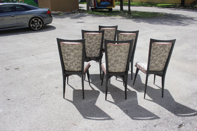 Set of Six French Art Deco Solid Mahogany Dining Chairs, circa 1940s 6