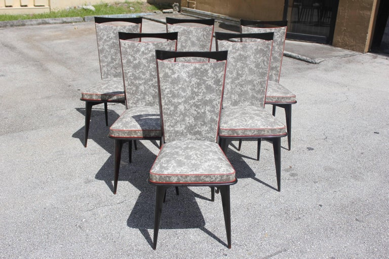 Set of Six French Art Deco Solid Mahogany Dining Chairs, circa 1940s 7