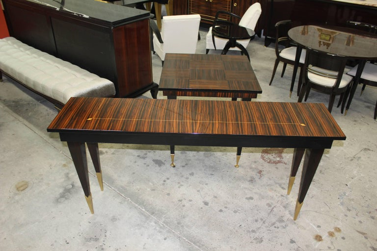 Long French Art Deco Exotic Macassar Console Table, circa 1940s 10