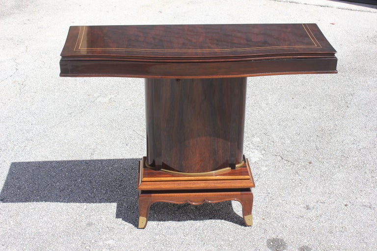 Fine French Art Deco Palisander Console Tables by Jules Leleu, circa 1930s 3