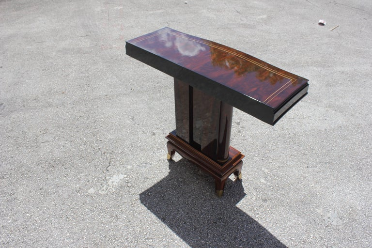 Fine French Art Deco Palisander Console Tables by Jules Leleu, circa 1930s For Sale 3
