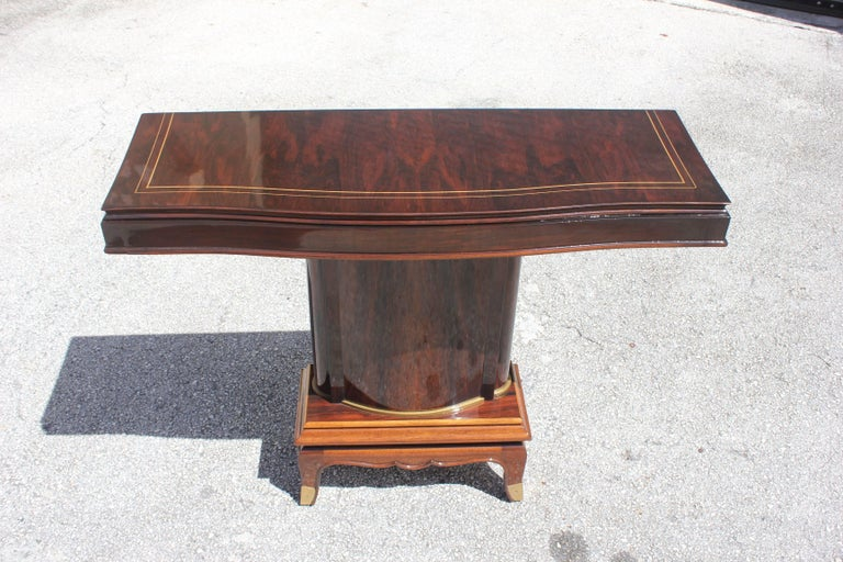 Fine French Art Deco Palisander Console Tables by Jules Leleu, circa 1930s For Sale 4