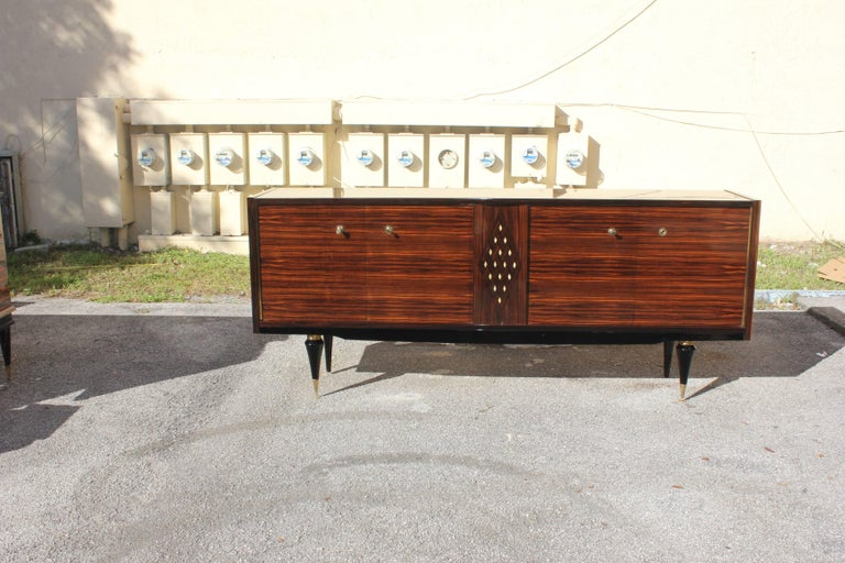 French Art Deco Macassar Sideboard with Diamond Mother-of-Pearl Center For Sale 5